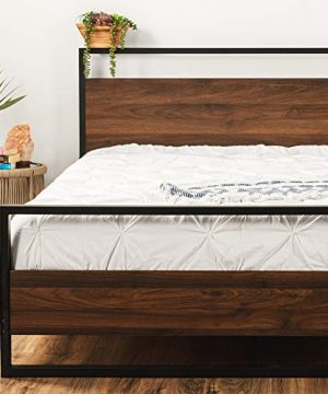 Best Choice Products Metal Wood Platform Bed Frame Queen Size Mattress Support WWood Slats No Box Spring Needed Low Profile Headboard Footboard 660lb Capacity BlackBrown 0 300x360