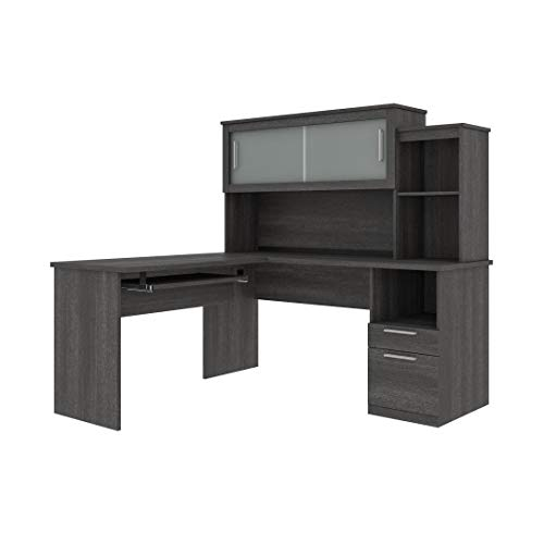Bestar Dayton Collection Executive Office L Shaped Desk With Pedestal And Hutch 0 0