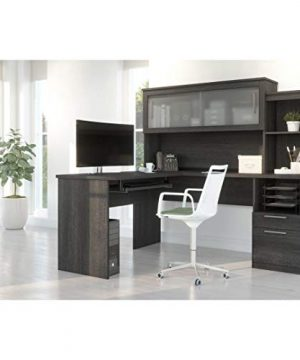 Bestar Dayton Collection Executive Office L Shaped Desk With Pedestal And Hutch 0 1 300x360