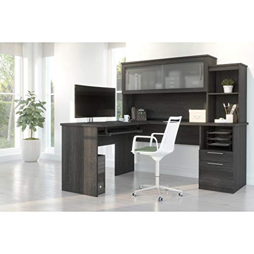 Bestar Dayton Collection Executive Office L Shaped Desk With Pedestal And Hutch 0 1