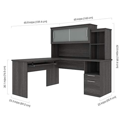 Bestar Dayton Collection Executive Office L Shaped Desk With Pedestal And Hutch 0 3