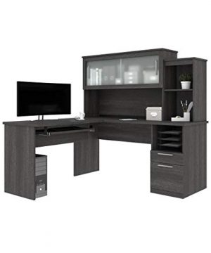 Bestar Dayton Collection Executive Office L Shaped Desk With Pedestal And Hutch 0 300x360