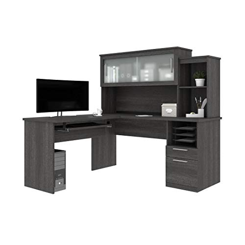 Bestar Dayton Collection Executive Office L Shaped Desk With Pedestal And Hutch 0