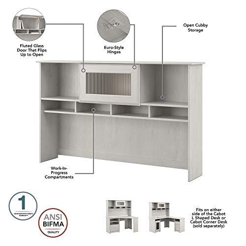 Bush Furniture Cabot L Desk With Hutch Lateral File And 5 Shelf Bookcase Linen White Oak 0 2