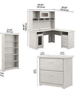 Bush Furniture Cabot L Desk With Hutch Lateral File And 5 Shelf Bookcase Linen White Oak 0 3 300x360
