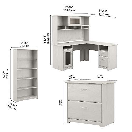 Bush Furniture Cabot L Desk With Hutch Lateral File And 5 Shelf Bookcase Linen White Oak 0 3