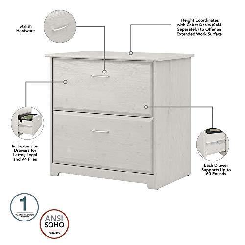 Bush Furniture Cabot L Desk With Hutch Lateral File And 5 Shelf Bookcase Linen White Oak 0 4