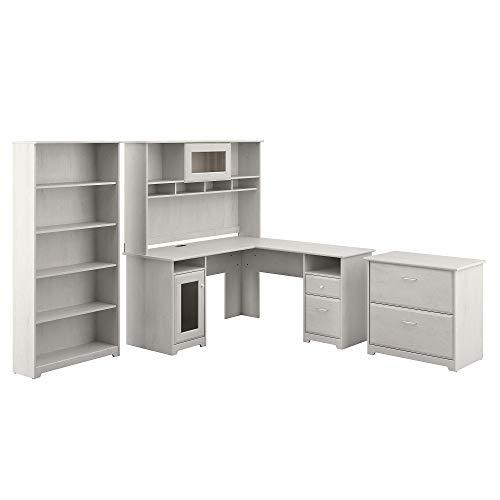 Bush Furniture Cabot L Desk With Hutch Lateral File And 5 Shelf Bookcase Linen White Oak 0
