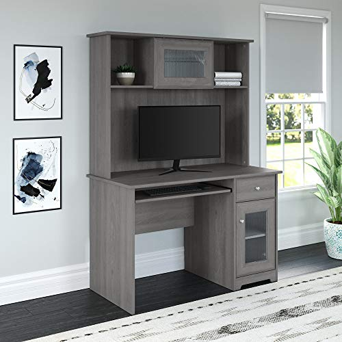 Bush Furniture Cabot Small Computer Desk With Hutch And Keyboard Tray 48W Modern Gray 0 0