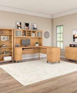 Bush Furniture Somerset L Shaped Desk With Hutch Lateral File Cabinet And Bookcase 72W Maple Cross 0 0 300x360