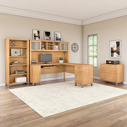 Bush Furniture Somerset L Shaped Desk With Hutch Lateral File Cabinet And Bookcase 72W Maple Cross 0 0