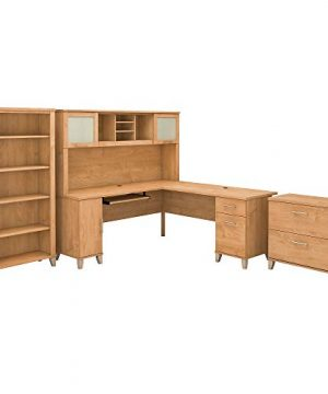 Bush Furniture Somerset L Shaped Desk With Hutch Lateral File Cabinet And Bookcase 72W Maple Cross 0 300x360