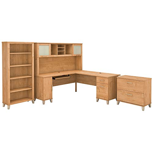 Bush Furniture Somerset L Shaped Desk With Hutch Lateral File Cabinet And Bookcase 72W Maple Cross 0