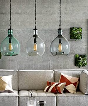 CASAMOTION Pendant Light Glass Ceiling Fixture Kitchen Island Chain Hanging Chandelier Vintage Lighting Rustic Farmhouse Dining Table Hallway Handblown Globe Color Shade Recycled Clear 11 Inch Diam 0 0 300x360