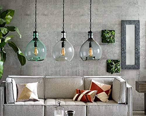 CASAMOTION Pendant Light Glass Ceiling Fixture Kitchen Island Chain Hanging Chandelier Vintage Lighting Rustic Farmhouse Dining Table Hallway Handblown Globe Color Shade Recycled Clear 11 Inch Diam 0 0