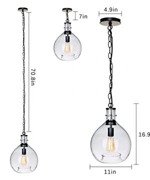 CASAMOTION Pendant Light Glass Ceiling Fixture Kitchen Island Chain Hanging Chandelier Vintage Lighting Rustic Farmhouse Dining Table Hallway Handblown Globe Color Shade Recycled Clear 11 Inch Diam 0 4 300x360