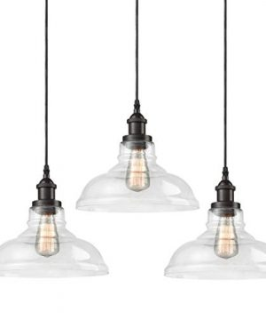 CLAXY Ecopower Industrial Pendant Lighting Glass Oil Rubbered Bronze Hanging Light Fixtures 3 Pack 0 300x360