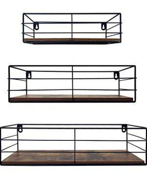 CRUGLA Floating Shelves Wall Mounted Set Of 3 Hanging Storage Shelf For Bathroom Living Room Bedroom Office 0 300x360