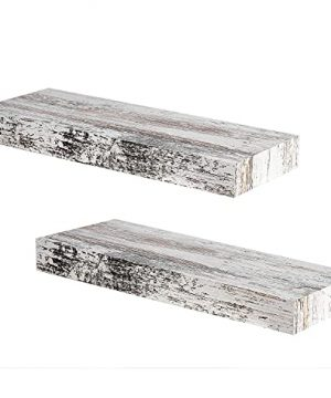 Califortree Rustic White Floating Shelves For Wall Mounted Set Of 2 Wood Shelf For Bedroom Living Room Bathroom Kitchen And Office 0 300x360
