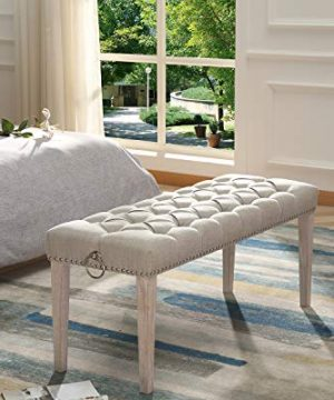 Chairus Dining Bench Fabric Upholstered Dining Room Bench With Ring Pull Classic Tufted Entryway Bench For Hallway Farmhouse Rustic Bedroom Bench Beige 0 0 300x360