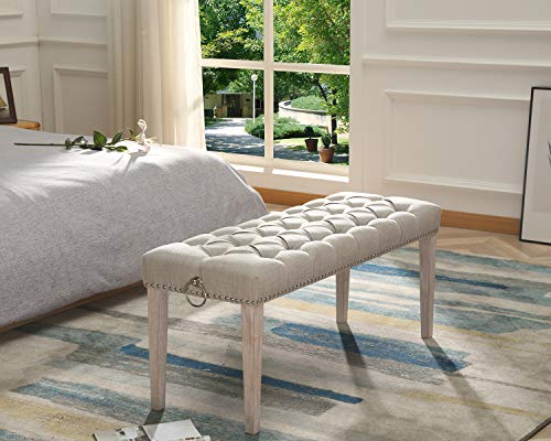 Chairus Dining Bench Fabric Upholstered Dining Room Bench With Ring Pull Classic Tufted Entryway Bench For Hallway Farmhouse Rustic Bedroom Bench Beige 0 0