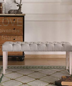 Chairus Dining Bench Fabric Upholstered Dining Room Bench With Ring Pull Classic Tufted Entryway Bench For Hallway Farmhouse Rustic Bedroom Bench Beige 0 1 300x360
