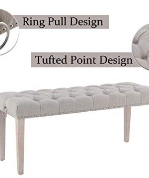 Chairus Dining Bench Fabric Upholstered Dining Room Bench With Ring Pull Classic Tufted Entryway Bench For Hallway Farmhouse Rustic Bedroom Bench Beige 0 2 300x360