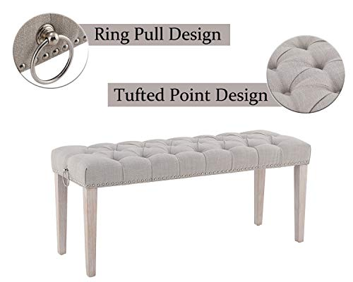 Chairus Dining Bench Fabric Upholstered Dining Room Bench With Ring Pull Classic Tufted Entryway Bench For Hallway Farmhouse Rustic Bedroom Bench Beige 0 2