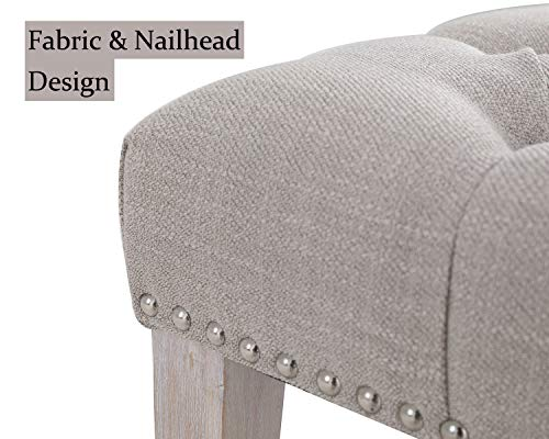 Chairus Dining Bench Fabric Upholstered Dining Room Bench With Ring Pull Classic Tufted Entryway Bench For Hallway Farmhouse Rustic Bedroom Bench Beige 0 3
