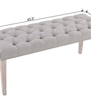 Chairus Dining Bench Fabric Upholstered Dining Room Bench With Ring Pull Classic Tufted Entryway Bench For Hallway Farmhouse Rustic Bedroom Bench Beige 0 5 300x360