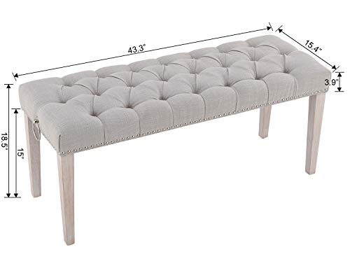 Chairus Dining Bench Fabric Upholstered Dining Room Bench With Ring Pull Classic Tufted Entryway Bench For Hallway Farmhouse Rustic Bedroom Bench Beige 0 5
