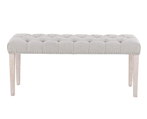 Chairus Dining Bench Fabric Upholstered Dining Room Bench With Ring Pull Classic Tufted Entryway Bench For Hallway Farmhouse Rustic Bedroom Bench Beige 0