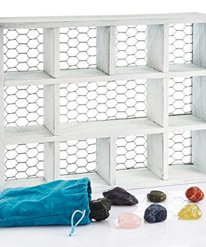 Crystal Display Shelf 7 Large Crystals With White Rustic Wall Mounted Floating Shelf For Farmhouse Decor With Chicken Wire For Eggs Essential Oils Spices Rocks Countertop Organizer Shadow Box 0 300x360