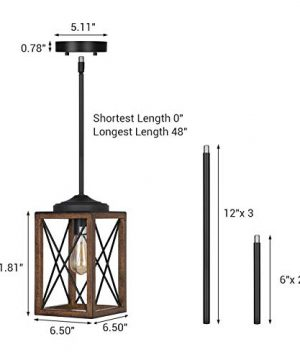 DEWENWILS Farmhouse Pendant Light Metal Hanging Light Fixture With Wooden Grain Finish 48 Inch Adjustable Pipes For Flat And Slop Ceiling Kitchen Island Bedroom Dining Hall E26 Base ETL Listed 0 0 300x360