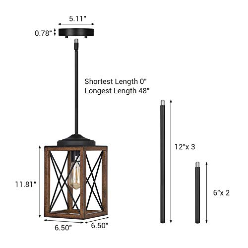 DEWENWILS Farmhouse Pendant Light Metal Hanging Light Fixture With Wooden Grain Finish 48 Inch Adjustable Pipes For Flat And Slop Ceiling Kitchen Island Bedroom Dining Hall E26 Base ETL Listed 0 0