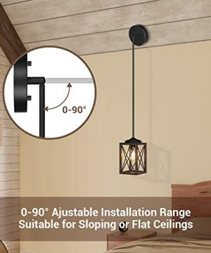 DEWENWILS Farmhouse Pendant Light Metal Hanging Light Fixture With Wooden Grain Finish 48 Inch Adjustable Pipes For Flat And Slop Ceiling Kitchen Island Bedroom Dining Hall E26 Base ETL Listed 0 2 300x360