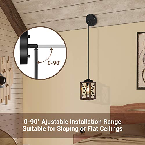 DEWENWILS Farmhouse Pendant Light Metal Hanging Light Fixture With Wooden Grain Finish 48 Inch Adjustable Pipes For Flat And Slop Ceiling Kitchen Island Bedroom Dining Hall E26 Base ETL Listed 0 2
