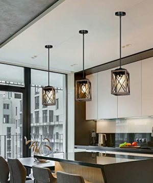 DEWENWILS Farmhouse Pendant Light Metal Hanging Light Fixture With Wooden Grain Finish 48 Inch Adjustable Pipes For Flat And Slop Ceiling Kitchen Island Bedroom Dining Hall E26 Base ETL Listed 0 3 300x360