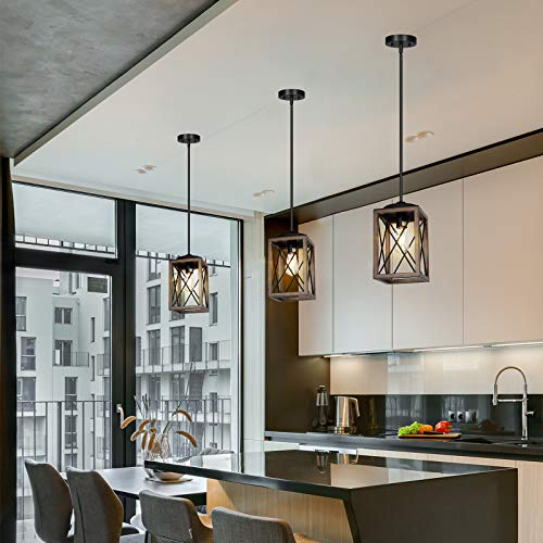 DEWENWILS Farmhouse Pendant Light Metal Hanging Light Fixture With Wooden Grain Finish 48 Inch Adjustable Pipes For Flat And Slop Ceiling Kitchen Island Bedroom Dining Hall E26 Base ETL Listed 0 3