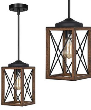 DEWENWILS Farmhouse Pendant Light Metal Hanging Light Fixture With Wooden Grain Finish 48 Inch Adjustable Pipes For Flat And Slop Ceiling Kitchen Island Bedroom Dining Hall E26 Base ETL Listed 0 300x360