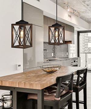 DEWENWILS Farmhouse Pendant Light Metal Hanging Light Fixture With Wooden Grain Finish 48 Inch Adjustable Pipes For Flat And Slop Ceiling Kitchen Island Bedroom Dining Hall E26 Base ETL Listed 0 4 300x360