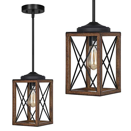 DEWENWILS Farmhouse Pendant Light Metal Hanging Light Fixture With Wooden Grain Finish 48 Inch Adjustable Pipes For Flat And Slop Ceiling Kitchen Island Bedroom Dining Hall E26 Base ETL Listed 0