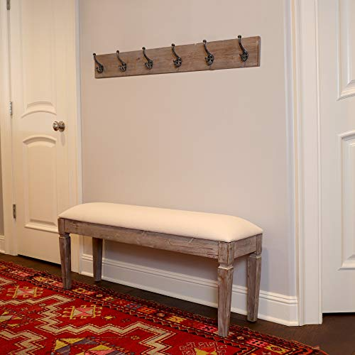 Decor Therapy Waverly Wood Bench With Coat Rack Set Measures 42x118x1775 Winter White 0 0