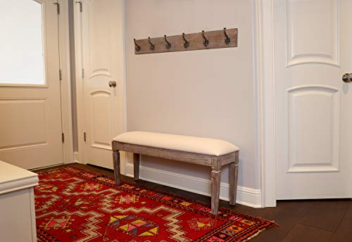 Decor Therapy Waverly Wood Bench With Coat Rack Set Measures 42x118x1775 Winter White 0 2