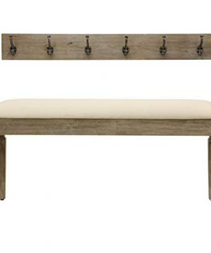 Decor Therapy Waverly Wood Bench With Coat Rack Set Measures 42x118x1775 Winter White 0 300x360