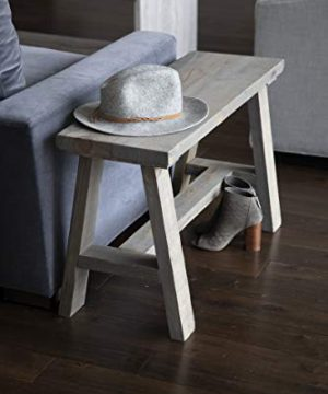 Del Hutson Designs Classic Solid Wood Rustic Living Room Bedroom Multipurpose End Table Bench Gray 0 300x360