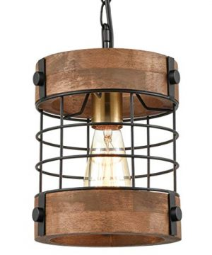 EUL Rustic Kitchen Pendant Hanging Light Wood Metal Wire Cage Ceiling Lamp Shade Distressed Brown 0 300x360