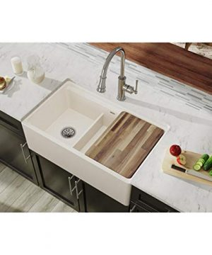 Elkay SWUF3320BI Fireclay 6040 Double Bowl Farmhouse Sink With Aqua Divide Biscuit 0 300x360