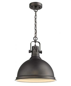 Emliviar 14 Inch Farmhouse Ceiling Pendant Light Vintage Metal Hanging Light With Dome Shade Oil Rubbed Bronze Finish 4054L ORB 0 300x360