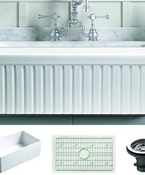 Empire Industries SP27G Sutton Place Reversible Farmhouse Fireclay Kitchen Sink With Grid And Strainer White 0 300x360